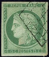 No 2, Vert, Nuance Vive, Obl Grille, Jolie Pièce. - TB - 1849-1850 Ceres