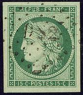 """No 2b, Vert Foncé, Obl """"DS 2"""", Un Voisin, Superbe. - R - 1849-1850 Ceres"""