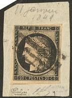 Quatre Barres De Lille. No 3, Un Voisin, Sur Petit Fragment, Jolie Pièce. - TB. - R (cote Maury) - 1849-1850 Ceres