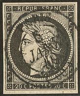 Cad Noir Type 15 Du 5 Janvier 1849. No 3 (pli D'angle), Jolie Pièce. - TB. - TB - 1849-1850 Ceres