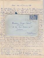 Yvert 368 Paix + 407 Mercure Cachet Flamme DAGUIN OSSEJA Pyrénées Orientales 1939 Lettre Pour Toulouse - Marcofilia (sobres)