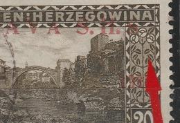 """☀ SHS Yugoslavia Bosnia 1918 Variety """"MISSING DOT"""" Mostar Old Bridge C! Nice Typical Flaw Of Overprint - Non Dentelés, épreuves & Variétés"""