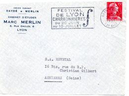 RHONE - Dépt N° 69 = LYON GROLÉE (2e ARR) 1957 = FLAMME SECAP  Illustrée 'FESTIVAL CHARBONNIERES' - Postmark Collection (Covers)