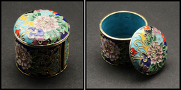 Distributeur De Roulettes. Modèle En émail, Cerclage Métal Doré, à Fin Décor De Fleurs Multicolores, Diam.40, H.40mm. -  - Stamp Boxes