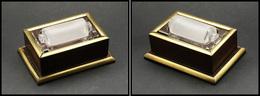 Mouille Timbres En Palissandre, Cerclage Laiton, Réservoir Amovible En Verre Et Rouleau Verre Sablé, 105x 75x45mm. - TB - Stamp Boxes