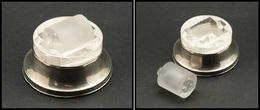 Mouille Timbres Circulaire En Argent Et Verre, Rouleau Sablé, Diam.65, H.40mm. - TB - Stamp Boxes