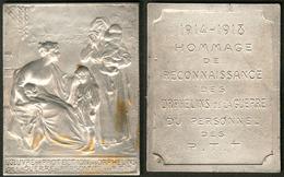 """Plaque En Bronze Argenté """"1914-1918 Hommage De Reconnaissance Des Orphelins De La Guerre, Du Personnel Des PTT"""" Au Verso - Stamp Boxes"""
