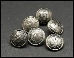 """Série De 6 Boutons De Gilet Second Empire """"Administration Des Poste"""" Avec Aigle, Diam.15mm, Bon état Général - Boites A Timbres"""