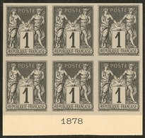 (*) Colonies Générales. No 37, Bloc De Six Bdf Avec Date 1878, Superbe. - R (3 Pièces Possibles) - Otros