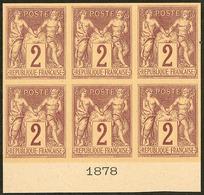 (*) Colonies Générales. No 38, Bloc De Six Bdf Avec Date 1878, Superbe. - R (3 Pièces Possibles) - Otros