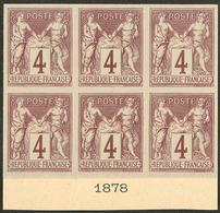 (*) Colonies Générales. No 39, Bloc De Six Bdf Avec Date 1878, Superbe. - R (3 Pièces Possibles) - Otros