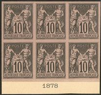 (*) Colonies Générales. No 40, Bloc De Six Bdf Avec Date 1878, Superbe. - R (3 Pièces Possibles) - Otros