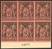(*) Colonies Générales. No 43, Bloc De Six Bdf Avec Date 1877, Superbe. - R (3 Pièces Possibles) - Otros