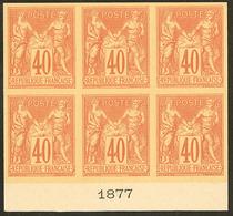 (*) Colonies Générales. Non émis. 40c Rouge Orange Type II, Bloc De Six Bdf Avec Date 1877, Superbe Et Seule Pièce Connu - Otros