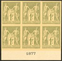 (*) Colonies Générales. Non émis. 1f Olive Type II (Yvert 36A), Bloc De Six Bdf Avec Date 1877, Superbe Et Seule Pièce C - Otros
