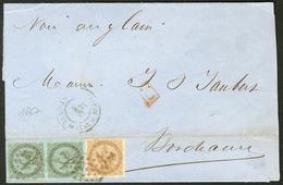Lettre Précurseurs. Guadeloupe. Nos 1 Paire Verticale + 3, Obl Losange Muet Sur Bulletin Maritime De Pointe à Pitre 1867 - Otros