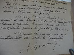 Provençal Occitan Mistral LAS Autographe + Enveloppe Lasserre Claudius 1947 - Autographes
