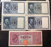 10 LIRE IMPERO 1935 Bb+-1938 Q.spl-1939 Bb-1944 Q.fds Serie Completa + 100 Lire Italia Turrita 1944 Q.bb LOTTO 809 - [ 1] …-1946: Königreich