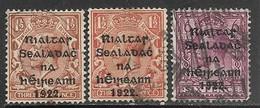 Ireland   1922 July Alex Thom 1 1/2p + Color Variety & 6p Used  2016 Scott Value $27.50 - Gebraucht