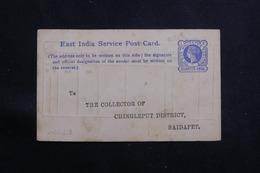 INDE/ COMPAGNIE DES INDES - Entier Postal Type Victoria Avec Repiquage Au Verso En 189. - A Voir - L 60650 - India (...-1947)