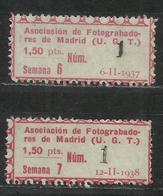 5860-SELLOS CUOTAS ESPAÑA GUERRA CIVIL 1937 Y 1938 U.G.T MADRID ,ASOCIACION FOTOGRABADORES MADRID.SPAIN POLITICAL LABEL - Viñetas De La Guerra Civil
