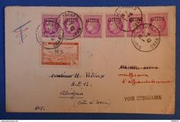 540 ALGERIE BELLE LETTRE RARE 1941 POSTE AERIENNE POUR ABIDJAN COTE IVOIRE A O F +CACHETS INTERESSANTS - Algeria (1924-1962)