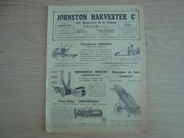 DOCUMENT PUBLICITAIRE JOHNTON HARVESTER Co. FAUCHEUSE MOISSONNEUSE CHARGEUR - Agriculture