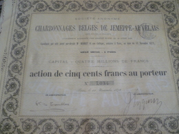 Action De 1872 Charbonnage Belge De Jemeppe Auvelais Bon Au Porteur 500 Francs - Actions & Titres