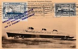 Carte Maximum - Première Liaison Postale Le Havre New York Par Le Paquebot Normandie 29 Mai 1935 - Paquebots