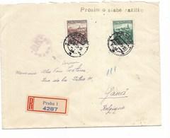 LE 0825. N° 313-315 PRAHA 1 S/Lettre RECOMMANDEE V. Gand (B) + CENSURE Et VIGNETTE Au Dos. - Briefe U. Dokumente
