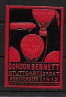 Deutsches Reich Stuttgart Gordon Bennett 1912 Balloon Vignet Werbemarke Cinderella Advertisement Label Aviation - Etichette Di Fantasia