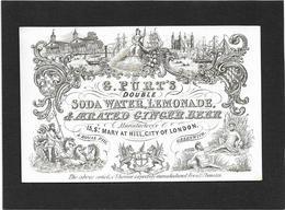 London / Greenwich *  (Carte Porcelaine)  G. Purt's , 13, St. Mary At Hill - Soda Water, Lemonade, Ginger Beer - Porzellan