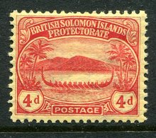 British Solomon Islands 1908-11 KEVII - Small Canoe - 4d Red On Yellow HM (SG 11a) - Islas Salomón (...-1978)