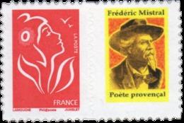 Frédéric Mistral Sur Vignette Attenante N° 3744A Dentelé Sur 4 Côtés Neuf Luxe - France