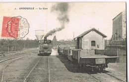 53 -ANDOUILLE- Mayenne- LA GARE Avec Train Vapeur -circulée 1907-  Scans Recto- Verso - Chateau Gontier