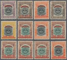 Brunei: 1906 Set Of 12 Overprinted Labuan, Mint Lightly Hinged, Few Minor Imperfections As Shortened - Brunei (1984-...)