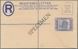 "Brunei: 1935 Postal Stationery Registered Envelope 15c. Ultramarine (152x96 Mm), Surcharged ""SPECIME - Brunei (1984-...)"