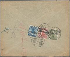 """China - Provinzausgaben - Mandschurei (1927/29): 1928, 4 C. Olive, 6 C. And 10 C. Tied """"HARBIN 18.5. - Mantsjoerije 1927-33"""