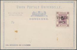 "Hongkong - Ganzsachen: 1879, QV ""THREE"" 3 C. On 5 C./18 C. Violet On 1879 Formular Stationery Card I - Postal Stationery"
