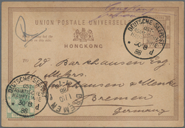 Hongkong - Ganzsachen: 1888, Stationery Card QV 3 C. Uprated QV 10 C. Green For Registration All Tie - Postal Stationery