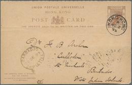 """Hongkong - Ganzsachen: 1895, 4 C./3 C. Sender Part Canc. """"HONG KONG A NO 20 95"""" To St. Richards, Bar - Postal Stationery"""