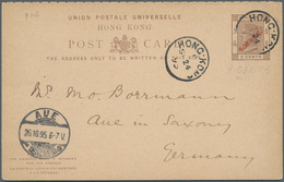 Hongkong - Ganzsachen: 1895, 4 C. On 3 C. Brown + 4 C. On 3 C. Brown (error OENTS)double Card, Canc. - Postal Stationery