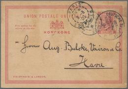 """Hongkong - Ganzsachen: 1903, Stationery Card QV 4 C. Canc. By """"DEUTSCHE SEEPOST OST-ASIATISCHE HAUPT - Postal Stationery"""