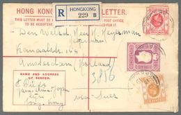 """Hongkong - Ganzsachen: 1914, Registered Envelope KGVI 10 C. Uprated 4 C., 6 C. Canc. """"REGISTERED HON - Postal Stationery"""