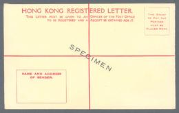 Hongkong - Ganzsachen: 1938, Registration Envelope 25 C. Size G, Ovpt. On Front SPECIMEN - Postal Stationery