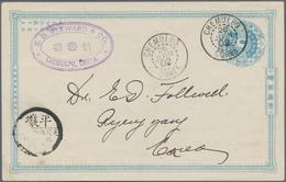 "Korea: 1901, Card 1 Ch. Light Blue, ""cheonhwan-kuk"" Bottom Imprint, Canc. ""CHEMULPO 26 JUN 02"" To Py - Korea (...-1945)"