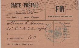 Depot De Cavalerie 5.12.1939 Vesoul Haute Saone FM - Lettres & Documents