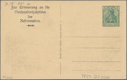 Thematik: Luther: 1917 Deutsches Reich Privatpostkarte 5 Pf Zur 400 Jahrfeier Der Reformation Mit Ab - Theologians