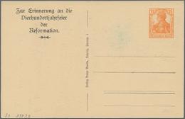 """Thematik: Luther: 1917 Deutsches Reich 7 1/2 Pf. Privat-Ganzsachenkarte """"Erinnerung A.d. Vierhundert - Theologians"""