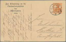 """Thematik: Luther: 1917 Deutsches Reich 7 1/2 Pf. Orange Privatpostkarte """"Zur Erinnerung An Die 400-J - Theologians"""